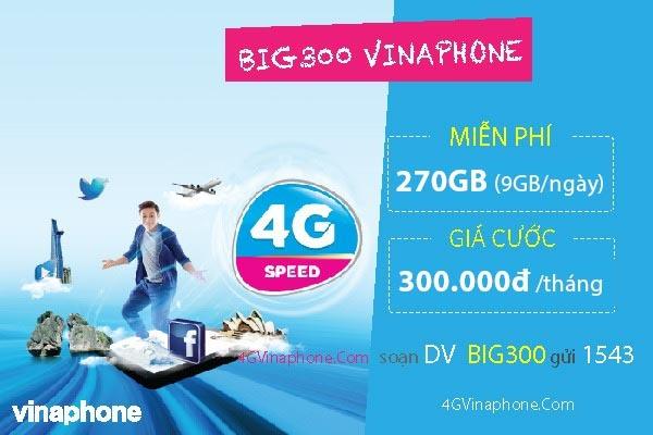 Đăng ký gói BIG300 Vinaphone nhận 270GB Data giá ưu đãi 300.000đ