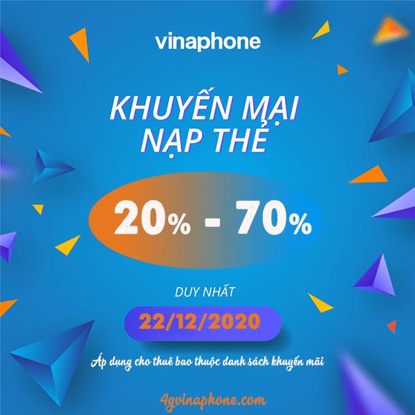 Khuyến mãi Vinaphone ngày 22/12/2020 tặng 20%, 70% giá trị tiền nạp vào