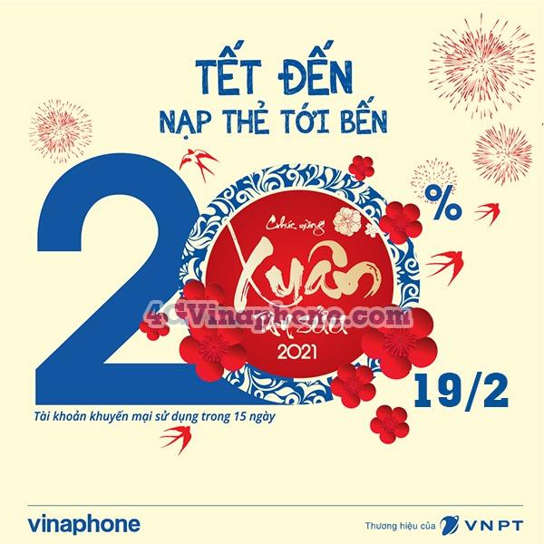 Vinaphone khuyến mãi ngày 19/2/2021 tặng 20% tiền nạp trên toàn quốc