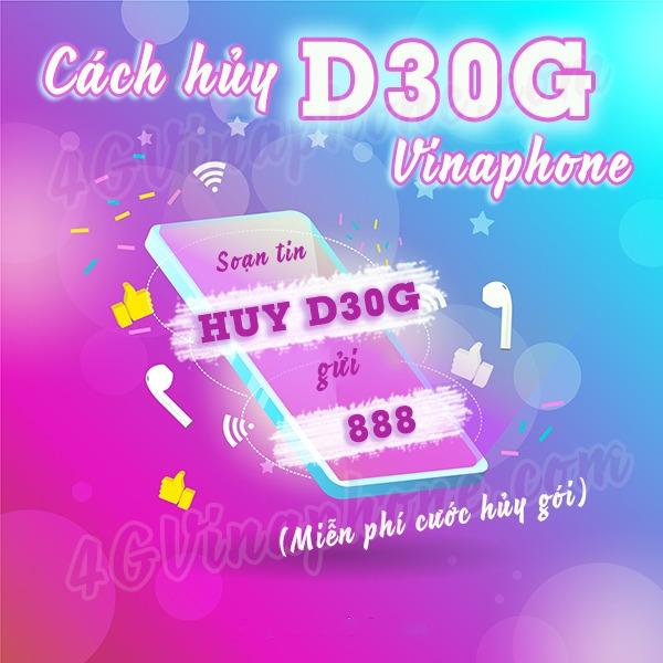 Hướng dẫn cách hủy gói cước D30G Vinaphone