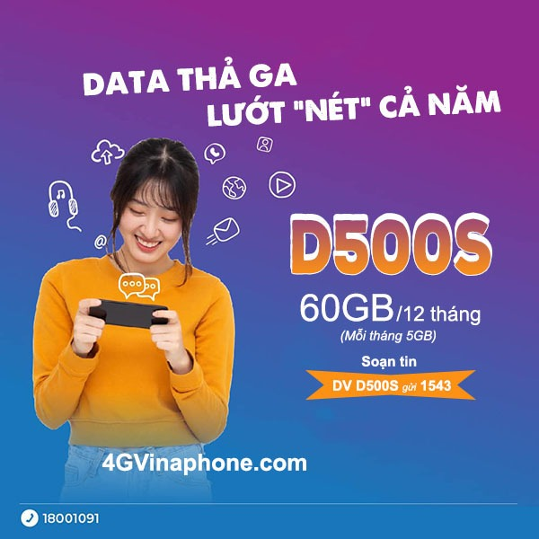 Đăng ký gói cước D500S Vinaphone miễn phí data trọn gói cả năm