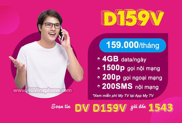 Đăng ký gói cước D159V Vinaphone nhận combo ưu đãi 3 trong 1