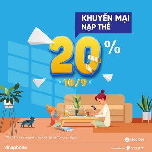 Vinaphone khuyến mãi ngày 10/9/2021 tặng 20% tiền nạp trên toàn quốc