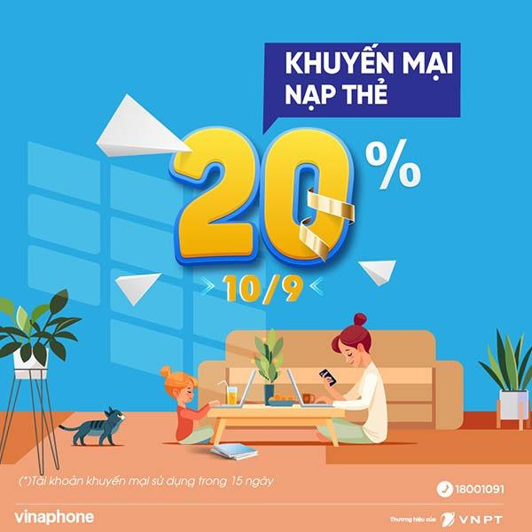 Vinaphone khuyến mãi ngày 10/9/2021 ưu đãi 20% giá trị tiền nạp bất kỳ