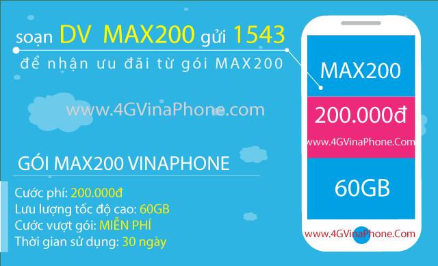 Cách đăng ký gói MAX200 Vinaphone có 60GB data 4GVinaPhone.com
